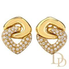 Estate Diamond 18K Dangle Omega Clip Earrings