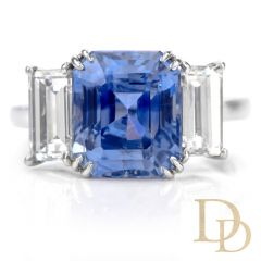 Estate Natural Ceylon Sapphire Diamond Platinum 3 Stone Engagement Ring