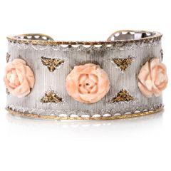 Mario Buccellati Coral Rose 18K Wide Cuff Bracelet