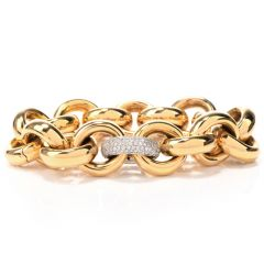 Italian 18 karat Yellow Gold and Diamond Flexible Link Bracelet