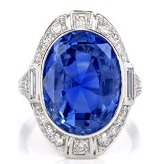 GIA Natural No Heat Sri Lanka Sapphire Diamond Platinum Ring