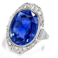 GIA Natural No Heat Sri Lanka Sapphire Diamond Platinum Ring