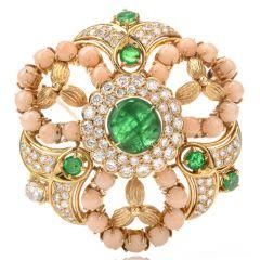 Estate Stylish Circular Diamond Coral Emerald18k Yellow Gold  Pin