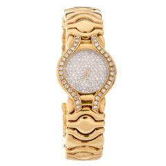 Preowned Ladies Platinivm Diamond 18K Cuff Watch