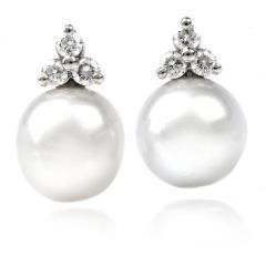 Estate Diamond 13mm South Sea White Pearls Stud Gold Earrings