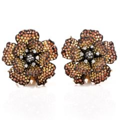 Golden Organge Sapphire 18k yellow Gold Clip Earrings