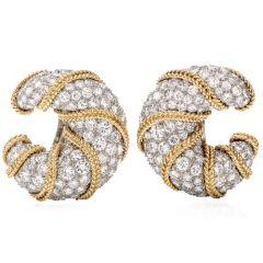 Vinatge Diamond Platinum Gold Clip-Back Half Hoop Shrimp Earrings