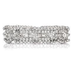 Vintage Art Deco European Diamond Platinum Wide Link Bracelet