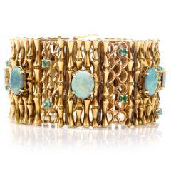 Vintage Art Nouveau Style Opal Emerald Gold Bangle Bracelet