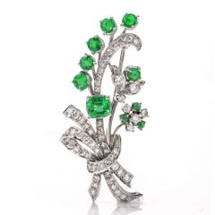 Vinatge Deco Emerald Diamond Platinum Flower Bouquet Pin