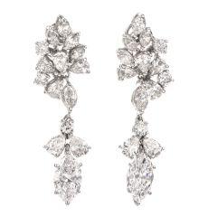 Vintage Multi shape 6.65cts Diamond Platinum dangle drop Earrings