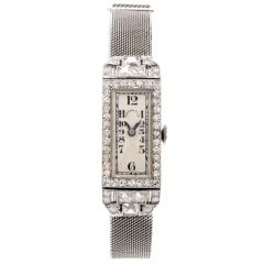 Vintage Patek Philippe Tiffany Diamond Platinum Ladies Mesh Watch