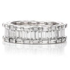 Estate Platinum 2.89cts  baguette cut Diamond Eternity Band Ring