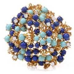 Vintage Lapis Persian Turquoise 18k Yellow Gold Nugget Brooch Pin