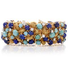 Vintage Diamond Lapis Turquoise 18k Nugget Gold Wide Bracelet