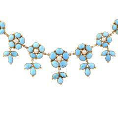 Vintage Victorian style Turquoise Petals and Pearl 18k Yellow Gold Choker Necklace