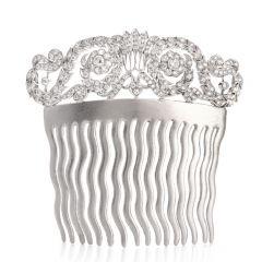 Vintage Diamond 18 karat White Gold Hair Comb
