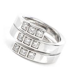 CARTIER Paris  Diamond 18K White Gold Band Ring Size 53