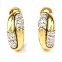 Estate High polished 18k Gold Diamond Half Hoop clipon Earrings