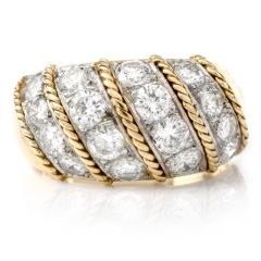Estate 3.80 cartas Diamond !8k Gold Dome Cocktail Shrimp Ring