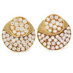 Vinatge Diamond orbital shaped 18k Yellow Gold Jacket Stud Earrings