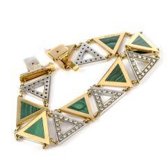 Vintage Trangular Malachite Diamond 18k  Yellow Gold Bracelet