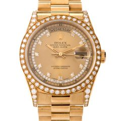 ROLEX President Day-Date Diamond String Diamond Log Dial Bezel Watch reference 18388