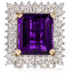 Estate Amethyst and Diamond 14K Pendant/Cocktail Ring