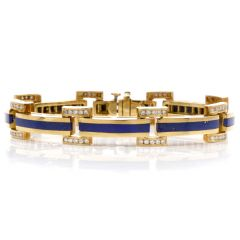 Estate 1980'S Blue lapis Diamond 18k Yellow Gold Bracelet