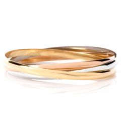 Cartier Tri Tone 18K Interlocking 3 Bangle Bracelets