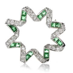 Estate Diamond Emerald Twisted Star Platinum Brooch Pin