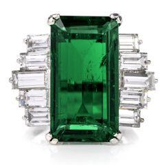 GIA Natural Columbian 6.44 Carat Emerald Diamond Platinum Engagement Cocktail Ring
