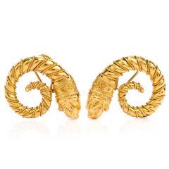 Vintage Zolatos Greek 22K Large Clip On Earrings