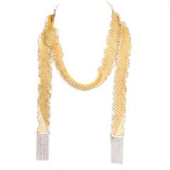 Long Mirror beads Mesh Wrap Around Scarf Italian 18K Gold