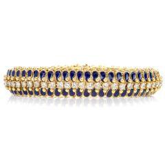 vintage Diamond Harlequin 18K Enamelled Link Bracelet