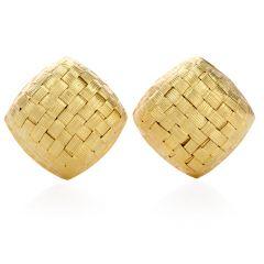 Estate Large Italian 18K Gold Woven Square Clip On Earrings