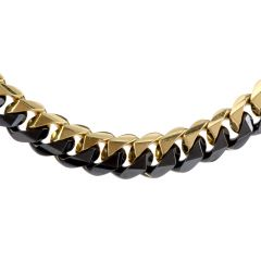 1980's Heavy 18K Black & Yellow Gold Curb Link Chain Necklace