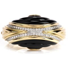 Estate Diamond Onyx 18K Gold Large Wide Bangle Bracelet