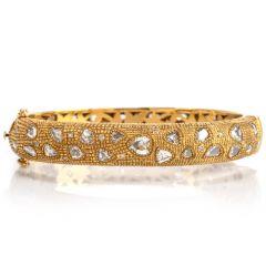 Estate Rose Cut Diamond 18K Gold Textured Bangle Bracelet