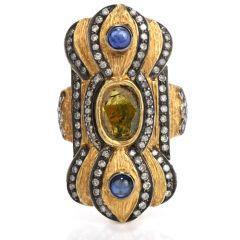 Estate Rose-Cut Diamond Sapphire 18K Gold Long Cocktail Ring