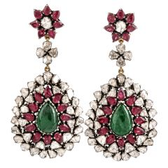 Loren Jewels Emerald Ruby Diamond 14K Gold Large Dangle Earrings