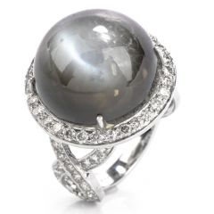 Estate Cabochon Moonstone Diamond 18K Gold Cocktail Ring