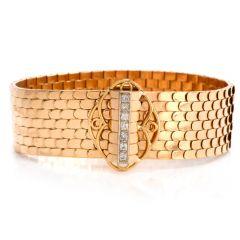 Vintage Retro French 18k Gold Fish Pattern1950's wide Bracelet