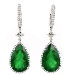 Certified GIA Pear Emerald Diamond 18 Karats Gold Dangle Drop Earrings