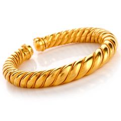 Vintage Lalaounis 18k Yellow Gold Twisted Cuff Bangle  Bracelet