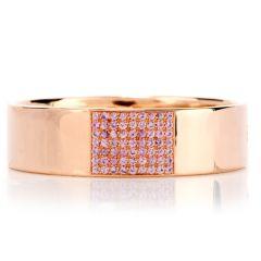 Roberto Coin Italian High Polish Pink Sapphire 18k Rose Gold Bangle Bracelet
