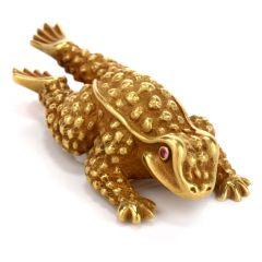 Kieselstein-Cord 18k Green Gold Frog  Clip Pin Brooch