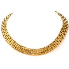 Roberto Coin Appassionata Classic 3 Rows Diamond  18k Gold Necklace