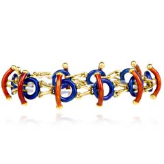 Estate Italian Limited Edition 18K Enamel Link Bracelet