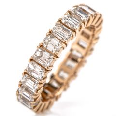Emerald Cut Diamond Eternity Band Ring 18K Rose Gold